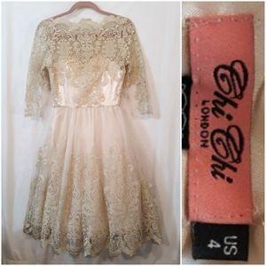 Chi Chi London Gold Lace Dress
